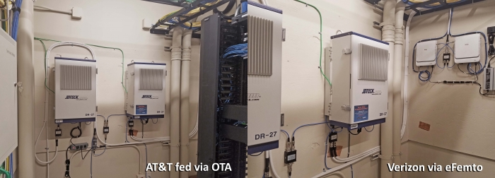 Thanks to Mike for some impressive work to install a JDTECK DAS at a hospital facility in PA. There is a repeater dedicated for Verizon and one for AT&T. A pair of eFemto's feed the Verizon's unit while the AT&T unit receive's and OTA feed from donor's on the roof.  Speed tests range from 28 MBPS to 38 MBPS.