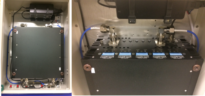 Customized quad band repeater and pre-amp enclosed in IP65 enclosure for O-DAS deployments. All Low PIM cables used.