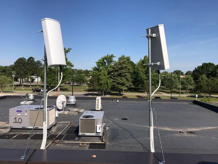 Pair of dual sector antennas feeding Digital DAS. All WSP's are supported with a lock on just 2 azimuths. Bracket supports ensure antennas remain ridged.
