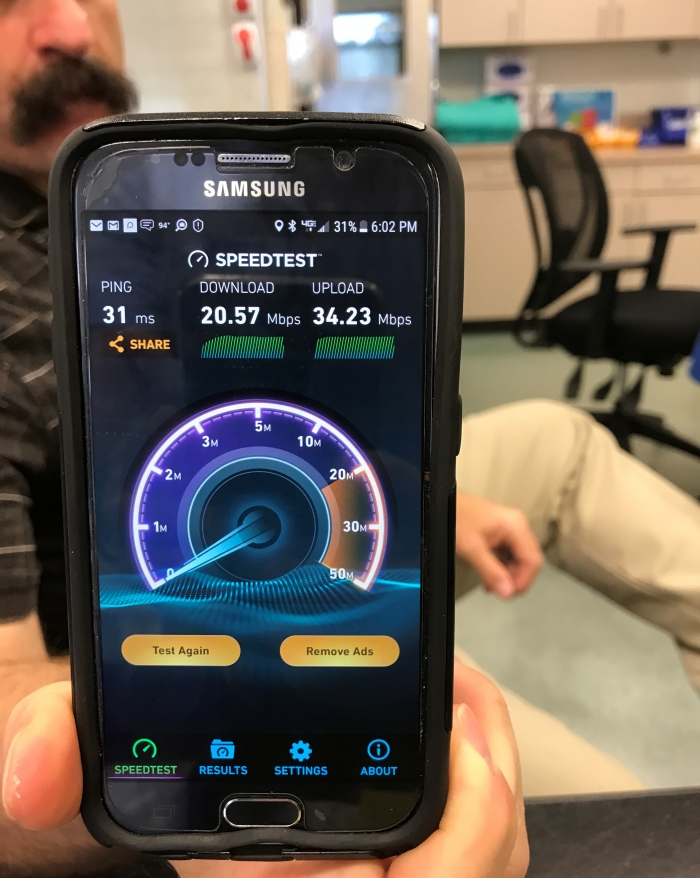 The IT Manager of one medical facility in Texas was pretty pleased with the speed tests results of his mobile device after JDTECK completed a digital upgrade for them.